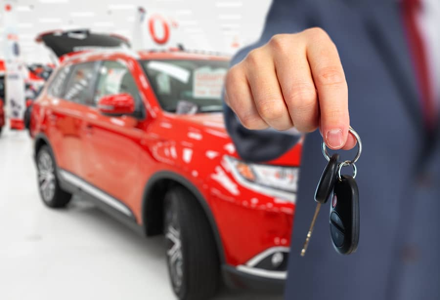 Car and key in a dealership