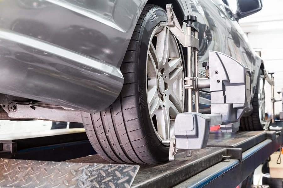 car having wheel alignment