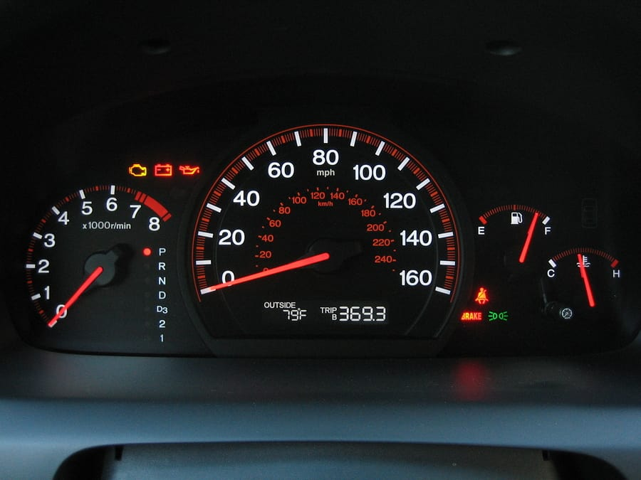 speedo clock in a car